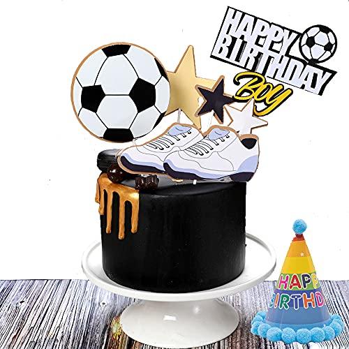 N/U 6 Pezzi Decorazione Torta di Compleanno di Calcio + 1 Cappello di Compleanno,Decorazione per Torta Topper,per Feste di Calcio,Feste Sportive,Festa di Compleanno