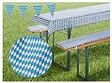 Heimtexland® - Set di cuscini per panca da birra, tovaglia bavarese con rombi bavaresi Bavaria Blue Oktoberfest Party decorazione tavolo da birreria dimensioni 70 x 220 cm tipo 331