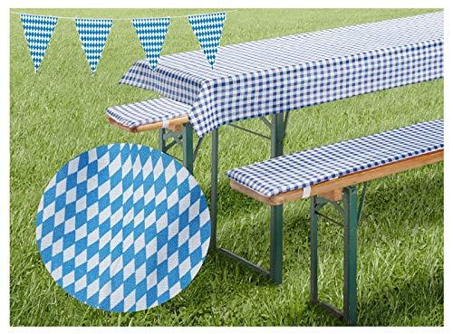 heimtexland ® Set de coussins pour bancs de bière, nappe motif losanges bavarois bleu Bavaria pour la fête de la bière - Dimensions : 50 x 110 cm - Type 31