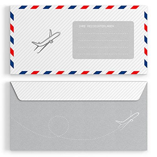(10 x) Briefumschläge DIN-Lang - Flugticket Einladungskarten Kuvert selbstklebend