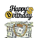 Happy Birthday Cake Topper - Bitcoin and Dollar Sign Money Cake Topper for...