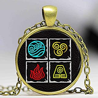 Necklace for Men Avatar Last Airbender 4 Nations Fire Water Air And Earth On One Pendant Glass Photo Cabochon Necklace