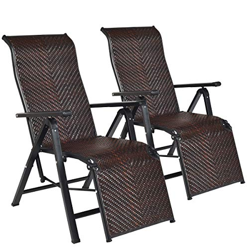Tangkula 2 Pcs Folding Reclining Rattan Chair, Portable Chaise Lounge Chair w/Adjustable Positions, Outdoor Lounge Chair with Wide Armrest, Sturdy Steel Frame for Garden, Patio, Beach (2)