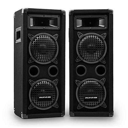auna Pro PW - passiver PA-Lautsprecher PA-Box, Lautsprecher-Paar, schwarz, Horn-Mitteltöner, 2 x Piezo-Hochtöner,zwei 3-Wege-Lautsprecher, 300 Watt, schwarz