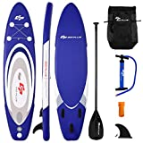 Goplus Inflatable Stand up Paddle Board Surfboard SUP Board with Adjustable Paddle Carry Bag Manual Pump Repair Kit Removable Fin for All Skill Levels, 6' Thick (Navy, 10FT)