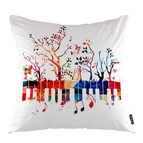 oFloral Kissenbezug mit Baum-Motiv, Bunte Musiknoten, Piamo, Tastatur, Akustik-Synthesizer, dekorative Kissenhülle, Heimdekoration, für Sofa, Schlafzimmer, Liveroom 20x20 Inch A21-0112