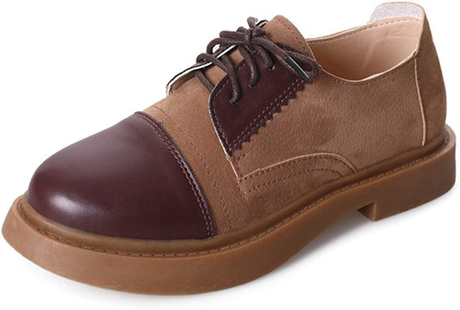 T-JULY Women's Oxfords shoes - Western Lace-up Low Wedge Round Toe Two Tone Casual shoes