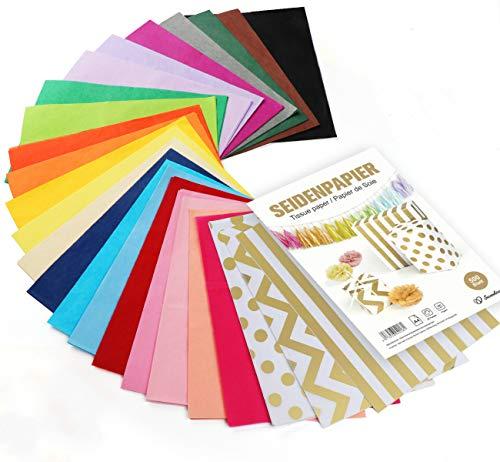 Sweelov 500 Blatt Seidenpapier 25 Farben bastelpapier A4 Buntes Papier Transparentpapier zum Pompoms Verpacken Tischdeko DIY, 16 g/qm