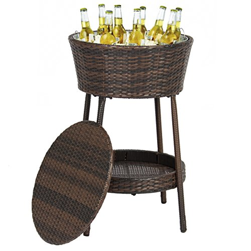 Best Choice Products Wicker Ice Bucket for Outdoor Patio