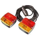MVPOWER Feux Arrière avec Pied Magnétique Eéclairage de Remorque avec Aimant Filaire12V 21W Câble de 7m, Prise 7 brochesHomologué pour la Circulation Routière