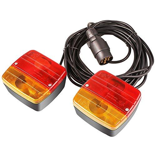 Rückleuchten Set für Anhänger PKW 21W 12V, Anhängerbeleuchtung mit Magnet verkabelt - 7m Kabel, 7 poliger Stecker, für Straßenverkehr zugelassen