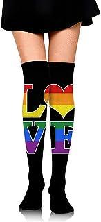 Jesse Tobias, Gay Love Rainbow Heart Gay & Lesbian Pride Girls Cosplay Calcetines altos hasta la rodilla Medias altas