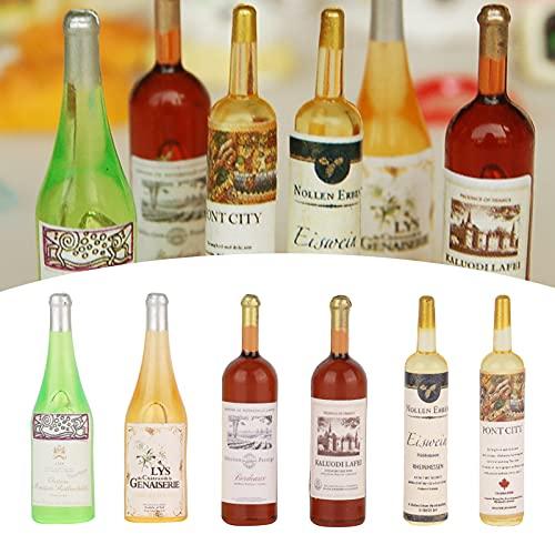 Botella de Vino de casa de muñecas, 1:12 Modelo de Botellas de Vino de casa de muñecas para Juego de rol(Mini Comida y Bebida Modelo 6 Botellas de Vino)