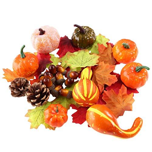 50 Stück kleine künstliche lebensechte Kürbisernte Mini-Kürbisse für Haus Garten, Herbsternte Dekoration, Erntedank oder Halloween-Dekoration (50 Stück)