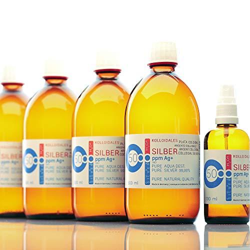 PureSilverH2O Kolloidales Silber 2100ml 50PPM (4 * 500ml) & Spray 100ml Silberwasser 100% frisch & effektiv