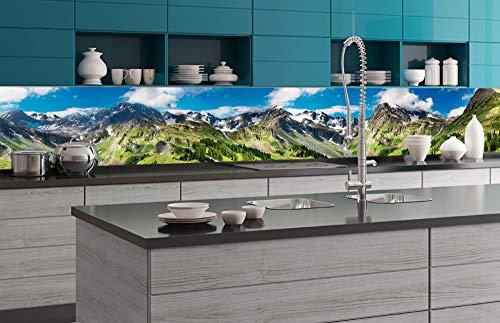 DIMEX LINE Paraschizzi Auto-Adesiva per la Cucina Montagne 350 x 60 cm   Resistente all'Acqua   QUALITA' Premium
