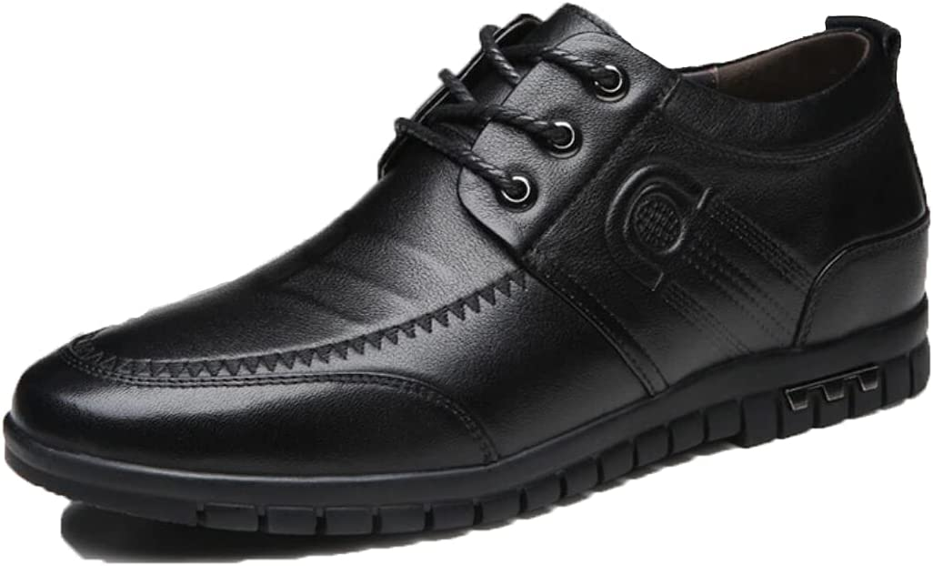 LHRFC Height-Increasing Shoes 6cm Men's Shoes Soft Leather Invisible Height-Increasing Single Shoes Men's Leather Shoes Shoes Black-EU39
