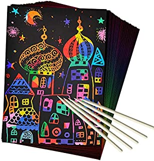 SooFam 50 Piece Rainbow Scratch Paper - 4 Wooden Styluses Included - Create Rainbow Scratch Art with This Jumbo Craft Pack