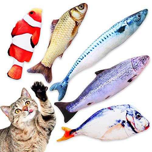 TILLMANN\'S Katzenminze Fische Spielzeug Funny Fish Katzenminze Kissen als Set mit 5 Fischen I wie Baldrian für Katzen I mit Katzenminze gefüllte Fisch Kissen