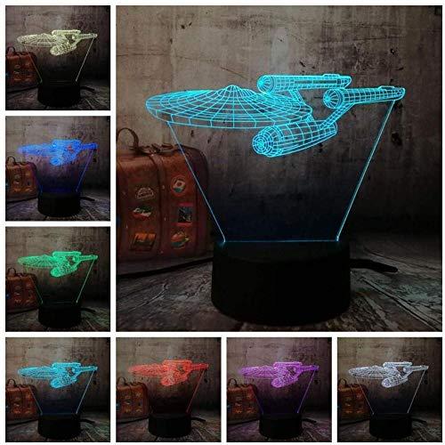 Luces nocturnas Ilusión 3D lámpara de proyección lámpara Acorazado nave espacial genial regalo de cumpleaños para jóvenes, niñas Con interfaz USB, cambio de color colorido
