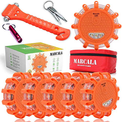 MARCALA LED Road Flares 6-Pack | The Only Roadside Safety Disc Kit with a Whistle | DOT Compliant LED Safety Flares Kit w/Batteries Installed, Carry-Case and 4 Bonus Items | Feel Safer on the Road!