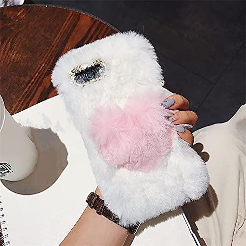 Custodia per telefono tridimensionale in peluche con cuore d'amore per iPhone 12Mini Pro Max 7 8 Plus XR XS 11Pro Max cover posteriore morbida in silicone, amore rosa, per iphone7/8