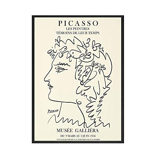 Resumen flor chica cuerpo cara nórdico Picasso Matisse cartel impreso Mural imagen familia sin marco lienzo pintura A6 50x70cm