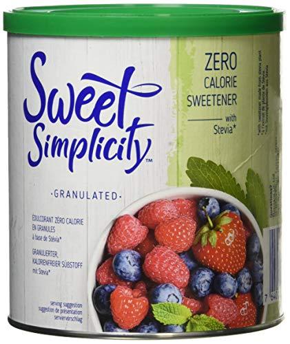 Sweet Simplicity - Pot d'édulcorant granulé à base de stévia, zéro calories, pour remplacement de sucre, 500g