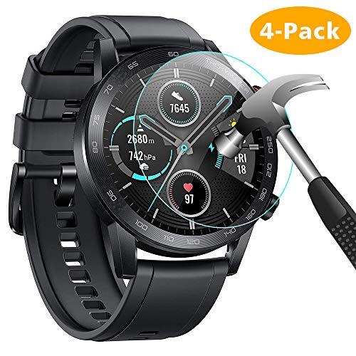 CAVN Protector de pantalla Compatible con Honor Magic Watch 2 (46mm), 4 unidades de vidrio templado Compatible con Huawei Honor Magic Watch 2