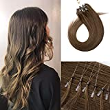 Silk-co Extension Cheveux A Froid Vrai Cheveux Humains Naturels Extension Loops Invisible Micro Loop 50G 100 Mèches Extension Anneaux [18'/45CM, 6 Châtain Clair]