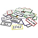 ZHIDIAN 72-Pcs Magnetic Dry Erase Labels Name Plates Tags 2.1' x 1.2' - Colored Magnets for Whiteboard, Name Tags for Classroom, Fridge, Cabinet, 6 Colors