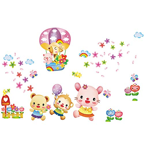 Cartoon Bär Feuerballon Abnehmbare Wandaufkleber Wasserdicht Badezimmer Kinder Schlafzimmer Wohnzimmer Dekoration Pvc Tapeten