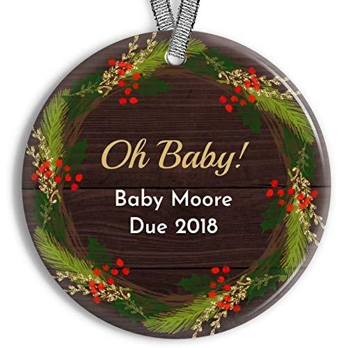 Zwangerschap Openbaring Ornament Kerstmis Krans Ornament Gepersonaliseerde Porselein Vakantie Rustieke Ornament Pasgeboren Gift