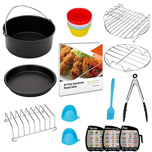 Air Fryer Accessories XL 8 inch, Compatible with Power, Phillips, Gowise USA, Nuwave, Cozyna AirFryer, with Recipes Cookbook, Set of 13, Fit for Air Fryers 5.3QT - 5.8QT