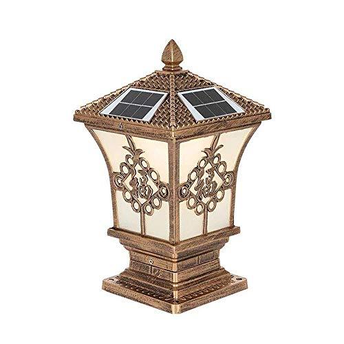 Luces de poste de iluminación de camino, luz de dos colores Lámpara de pilar solar LED Vidrio de ajuste de aluminio Luz de columna impermeable al aire libre Retro europeo Linterna de poste de jardín