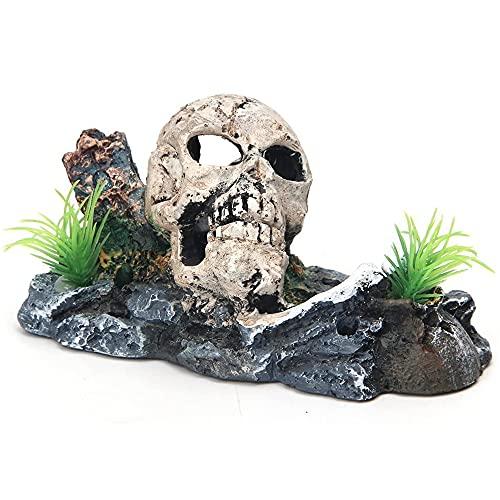 CJBIN Aquarium Deko, Glitzer Verzierung Aquarium Dekoration mit Pflanzen Piraten-Totenkopf, Höhle zum Verstecken, Aquarium Deko Pflanzen für Kleine, Garnele, Fisch, Schildkröte (15 * 8 * 10CM)