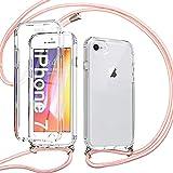 Pnakqil Funda con Cuerda para iPhone SE 2020/iPhone 8/7 4.7', Estuche para teléfono de Silicona TPU de 360 Grados Anti-caída con cordón Ajustable para Correa para el Cuello para iPhone 8-Oro Rosa