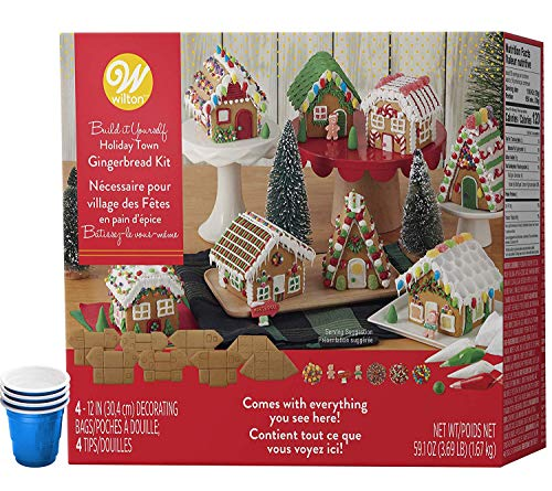 Gingerbread House Kit, Christmas Mini Village Set - Party Pack; Set of 8 Houses: Includes Unassembled House Panels - Build It Yourself, 5 Types Of Candies, White, Green, Red Icing, Decorating Bag & Tip, Bundled With (4) SEWANTA Candy Cup Holders