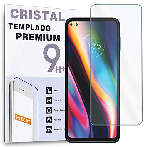 REY Protector de Pantalla para Motorola G 5G Plus - Motorola One 5G, Cristal Vidrio Templado Premium