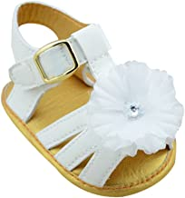 Weixinbuy Toddler Baby Girls PU Leather Flower Crib Shoes Soft Sole Flat Sandals