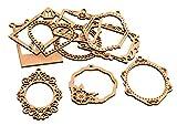 docrafts–Botones Surtidos pma174619Marcos Papermania Bare Basics Madera Formas (10Unidades), Color marrón