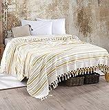 WSHFOR Bohem Tagesdecke Überwurf Decke - Wohndecke hochwertig - perfekt für Bett & Sofa, 100prozent Baumwolle - handgefertigte Fransen, 220x250cm (Gelb Streifen)