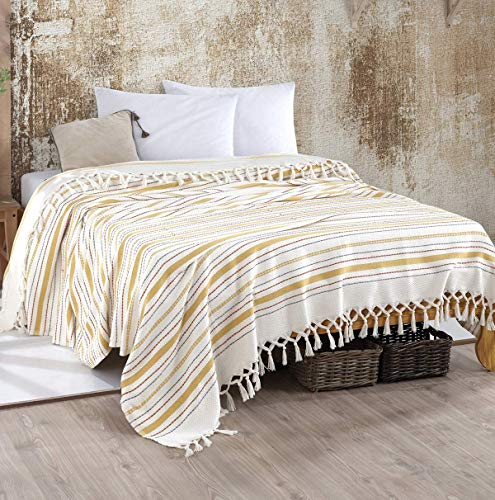 WSHFOR Bohem Tagesdecke Überwurf Decke - Wohndecke hochwertig - ideal für Bett und Sofa, 100% Baumwolle - handgefertigte Fransen, 220x250cm (Gelb Streifen)