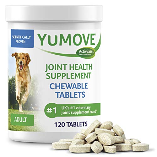 Dog Joint Supplement Hip and Joint Supplement for Dogs with Glucosamine Hyaluronic Acid and Green Lipped Mussel and Omegas Relief for Dog Hip and Joint Aches by YuMOVE  120 Chewable Tablets