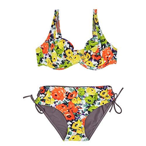 NSYYW Damesbadpak Zwemkleding Vrouwen Push Up Badpak Grote Maat Gestreepte Mid Taille Bikinis