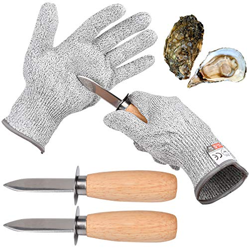 Oyster Shucking 4 Pieces Set-Oyster Shucker Opener Tool Oyster Shucking Knife with Level 5 Protection Food Grade Cut Resistant Gloves, XL