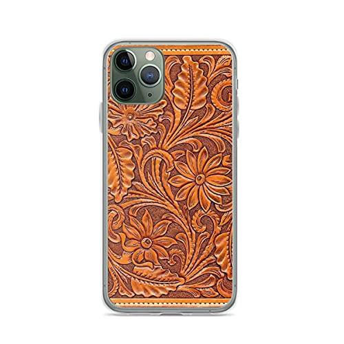 Fundas para teléfono Pure Clear compatibles con iPhone 12/11 Pro Max 12 mini SE X / XS Max XR 8 7 6 10s Plus Case for Tooled Brown Leather Funda protectora de silicona suave TPU a prueba de golpes