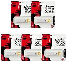 Kingston Digital 8GB DataTraveler 3.0 USB Flash Drive - Yellow (DTIG4/8GB) 5-Pack Combo