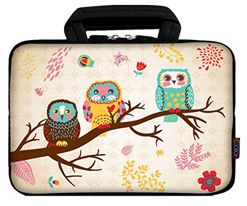 iColor 9.7' 8' Tablet Bag Case 10' Laptop Sleeve 10.1' 10.2' Handbag Carrier eBook Computer PC Netbook Readers Top Handle Protection Carrying Cover Holder-Cute Owl