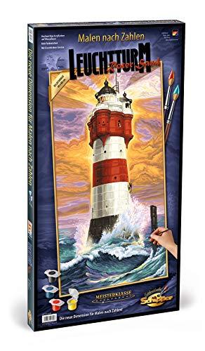 Schipper 609220399 Malen nach Zahlen, Leuchtturm Roter Sand - Bilder malen für Erwachsene, inklusive Pinsel und Acrylfarben, 40 x 80 cm